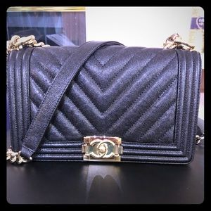 Chanel Caviar Chevron Quilted Med. Boy Flap Black